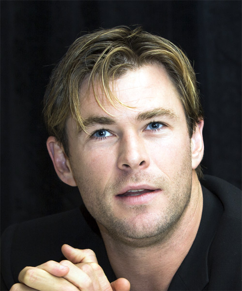Chris Hemsworth Short Straight Formal   Hairstyle with Side Swept Bangs  - Dark Blonde