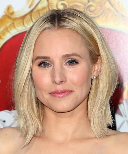 Kristen Bell Medium Straight   Light Golden Blonde Bob  Haircut