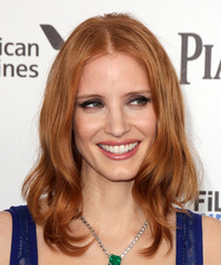 Jessica Chastain Medium Straight Casual  Bob  Hairstyle   -  Copper Red Hair Color