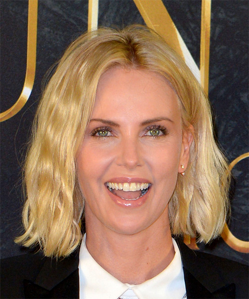 Charlize Theron Medium Wavy Casual Bob  Hairstyle   - Light Blonde (Golden)