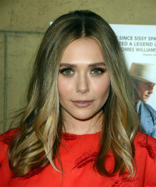Elizabeth Olsen Long Straight Casual  Bob  Hairstyle   - Dark Blonde Hair Color