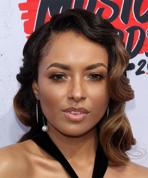 Kat Graham Medium Wavy Formal   Hairstyle   - Black
