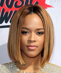 Serayah Medium Straight Formal  Bob  Hairstyle   - Dark Golden Blonde Hair Color