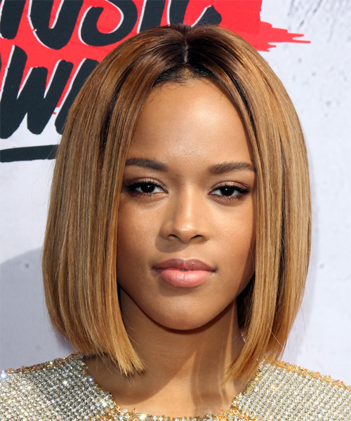 Serayah Medium Straight   Dark Golden Blonde Bob  Haircut