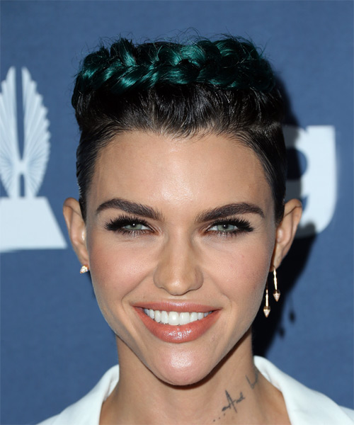 Ruby Rose Short Straight   Black  and Green Two-Tone Braided  Hairstyle