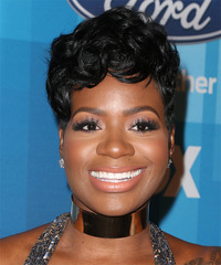 Fantasia Barrino Short Wavy Formal  Pixie  Hairstyle with Side Swept Bangs  - Black  Hair Color