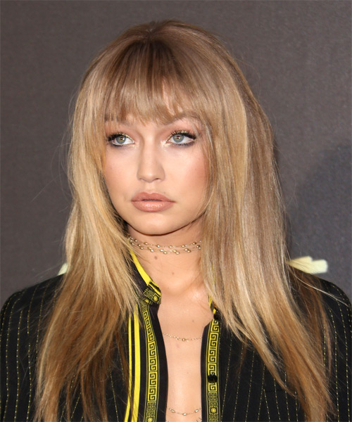 Gigi Hadid Long Straight   Dark Honey Blonde Shag  Hairstyle with Blunt Cut Bangs