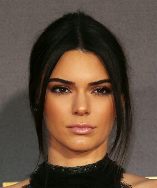 Kendall Jenner Updo Long Straight Casual  Updo Hairstyle   - Black