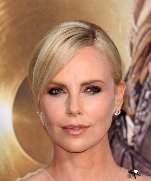 Charlize Theron Medium Straight   Light Champagne Blonde  Updo  with Side Swept Bangs
