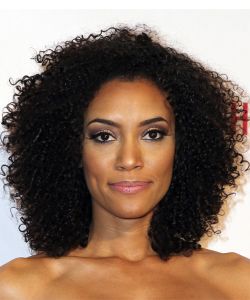 Annie Ilonzeh Medium Curly Casual Afro  Hairstyle   - Black