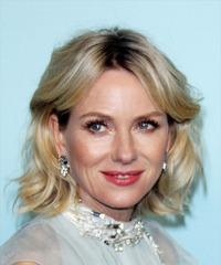 Naomi Watts Medium Wavy Formal  Bob  Hairstyle with Side Swept Bangs  - Light Ash Blonde Hair Color