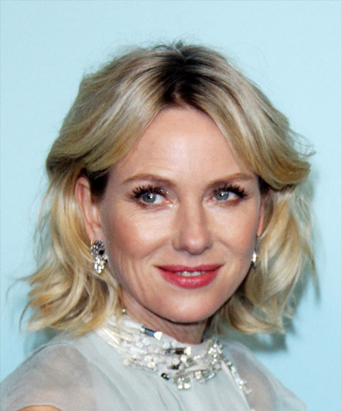 Naomi Watts Medium Wavy Formal Bob  Hairstyle with Side Swept Bangs  - Light Blonde (Ash)