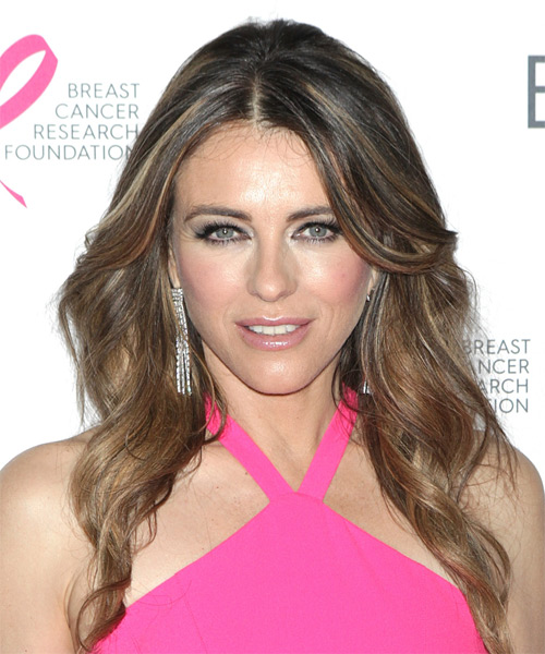 Elizabeth Hurley Long Wavy    Brunette   Hairstyle with Side Swept Bangs  and Dark Blonde Highlights