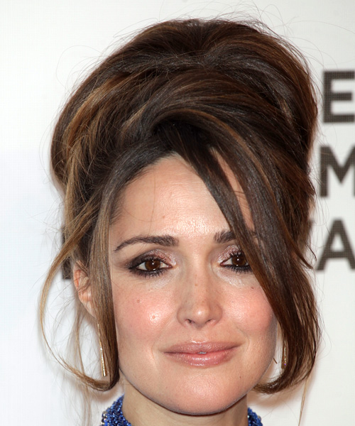 Rose Byrne Medium Wavy    Brunette  Updo  with Side Swept Bangs  and  Brunette Highlights
