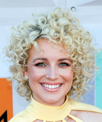 Cam Short Curly Casual  Shag  Hairstyle   - Light Platinum Blonde Hair Color