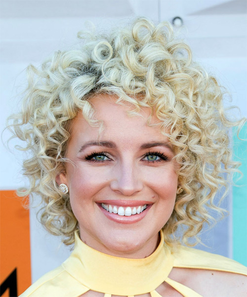 Cam Short Curly Light Platinum Blonde Shag Hairstyle