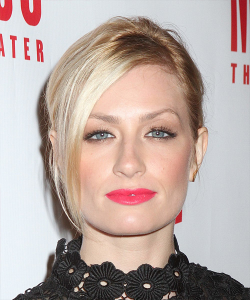 Beth Behrs Medium Straight Casual Updo with Side Swept Bangs