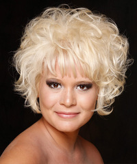 Short Curly Casual    Hairstyle   - Light Platinum Blonde Hair Color