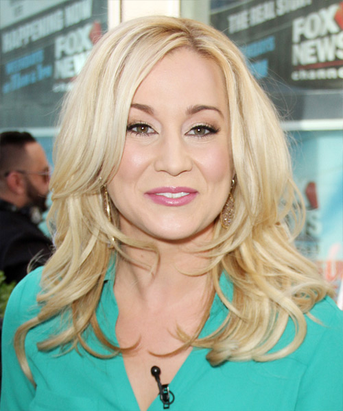 Kellie Pickler Long Wavy Formal   Hairstyle with Side Swept Bangs  - Light Blonde