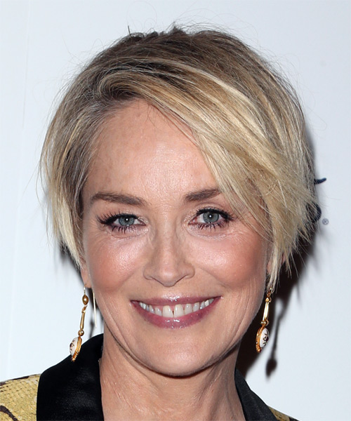 Sharon Stone Short Straight Casual  Bob  Hairstyle with Side Swept Bangs  - Light Honey Blonde Hair Color