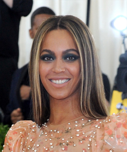 Beyonce Long Straight Formal    Hairstyle   - Black  Hair Color with  Blonde Highlights