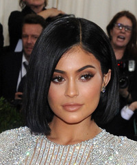 Kylie Jenner Medium Straight Casual  Bob  Hairstyle   - Black  Hair Color