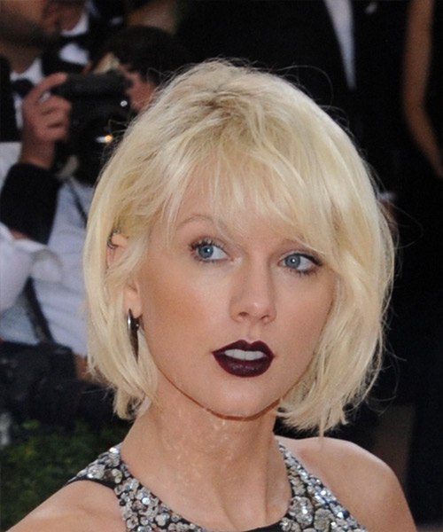 Taylor Swift Short Straight Formal  Bob  Hairstyle with Side Swept Bangs  - Light Platinum Blonde Hair Color
