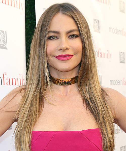 Sofia Vergara Long Straight    Honey Blonde   Hairstyle   with Light Blonde Highlights