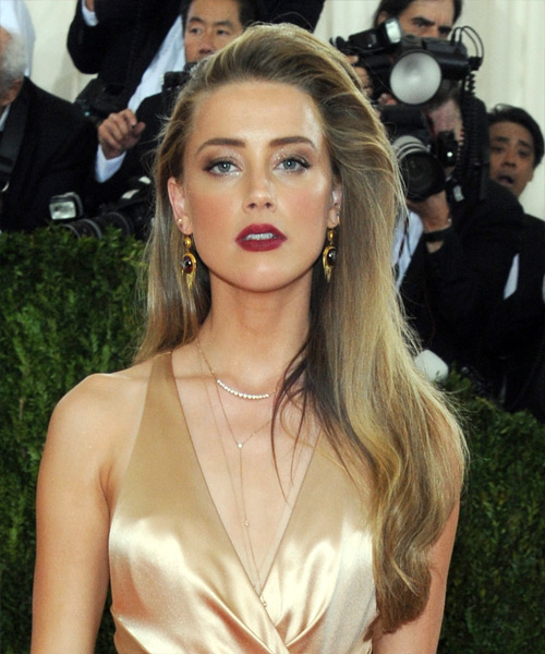 Amber Heard Long Straight Formal    Hairstyle   - Dark Golden Blonde Hair Color