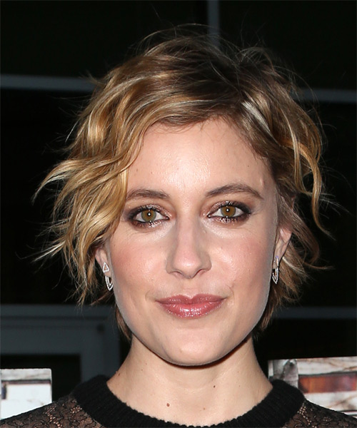 Greta Gerwig Short Wavy Casual Shag  Hairstyle with Side Swept Bangs  - Dark Blonde
