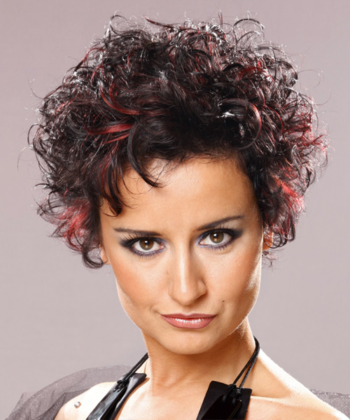 Short Curly   Dark Brunette   Hairstyle   with  Red Highlights