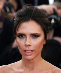 Victoria Beckham Long Straight Casual   Updo Hairstyle   - Dark Brunette Hair Color