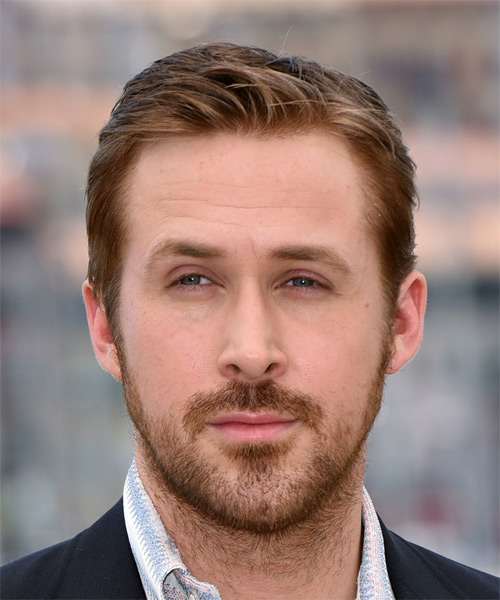 Wedding Hairstyle For Man: Ryan Gosling Short Straight Light Brunette Hairstyle
