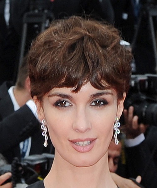 Paz Vega      Chocolate Brunette Pixie  Cut with Layered Bangs