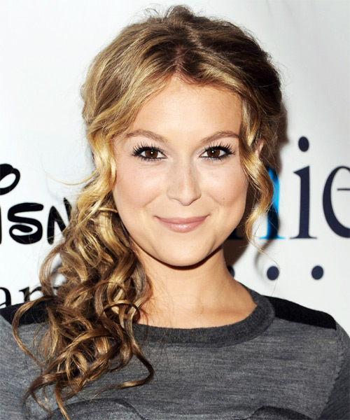 Alexa Vega Half Up Long Curly Casual  Half Up Hairstyle