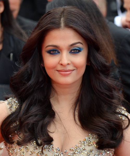 Aishwarya Rai Long Wavy Formal    Hairstyle   - Black  Hair Color