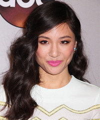 Constance Wu Long Wavy Casual    Hairstyle with Side Swept Bangs  - Black  Hair Color