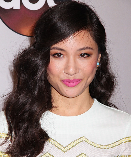 Constance Wu Long Wavy Casual   Hairstyle with Side Swept Bangs  - Black