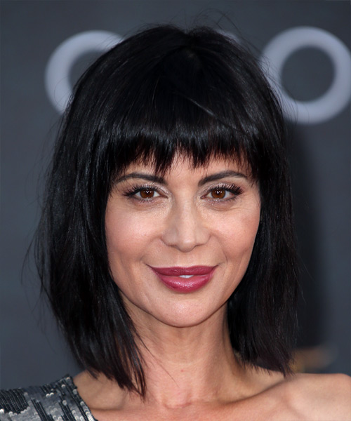 Catherine Bell Medium Straight Formal Bob  Hairstyle with Razor Cut Bangs  - Black
