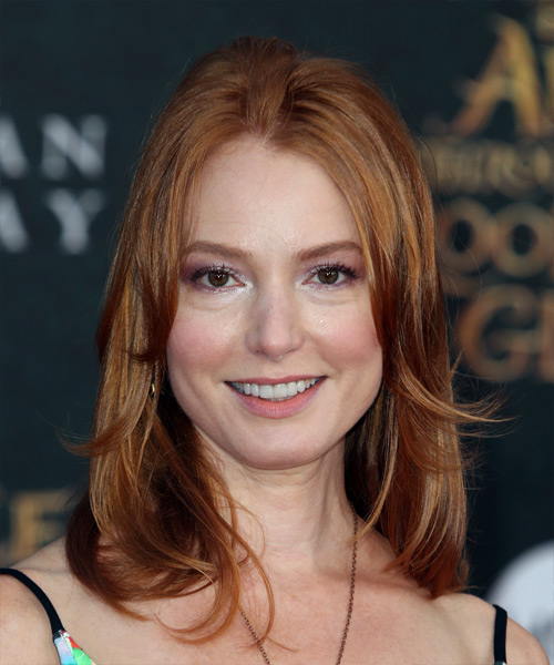 Alicia Witt Medium Straight Casual    Hairstyle   -  Copper Red Hair Color