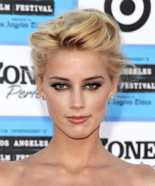 Amber Heard  Medium Straight Formal   Updo Hairstyle