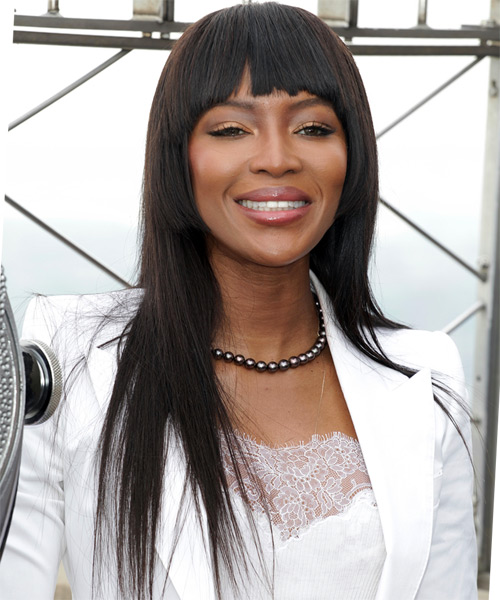 Naomi Campbell Long Straight Formal Shag  Hairstyle with Blunt Cut Bangs  - Black