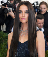 Katie Holmes Long Straight   Dark Chocolate Brunette   Hairstyle