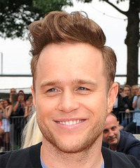 Olly Murs Short Straight Casual  Mohawk  Hairstyle with Side Swept Bangs  - Light Brunette Hair Color