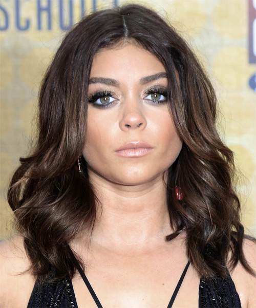 Sarah Hyland Medium Wavy Formal Layered Bob  Hairstyle   - Dark Chocolate Brunette Hair Color