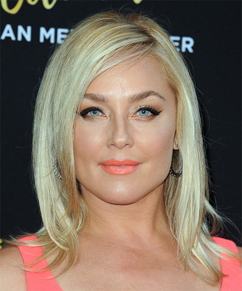 Elisabeth Rohm Medium Straight Formal Bob  Hairstyle with Side Swept Bangs  - Light Blonde