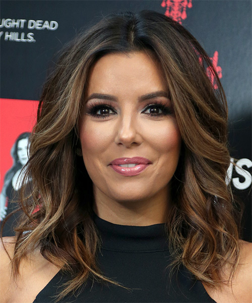 Eva Longoria Medium Wavy   Dark Brunette Bob  Haircut   with Light Brunette Highlights