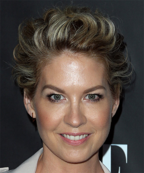 Jenna Elfman Short Wavy Formal Pixie  Hairstyle   - Dark Blonde