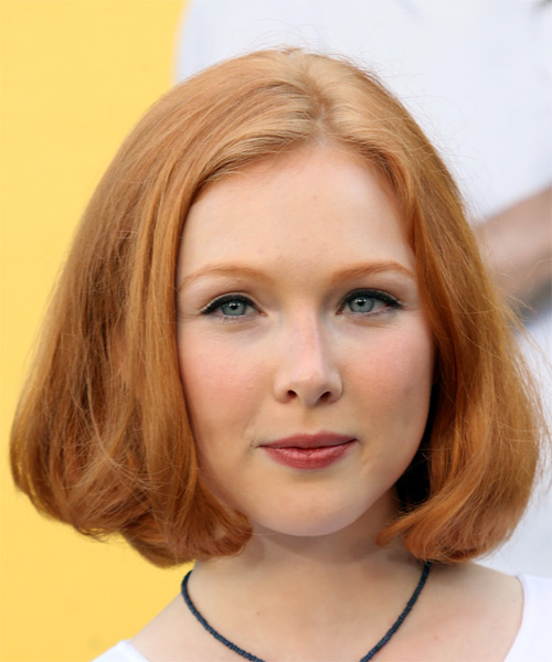 Molly Quinn Medium Straight Casual Bob  Hairstyle   - Medium Red (Copper)