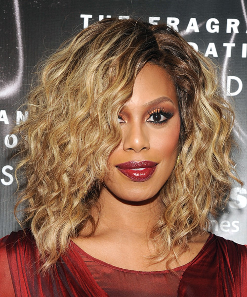 Laverne Cox Medium Curly Formal Layered Bob  Hairstyle   -  Golden Blonde Hair Color